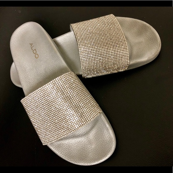 252f37fcf3c Aldo Shoes - Aldo Rhinestone Sparkle Slides Sandals Size 8